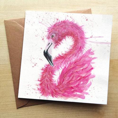 Wraptious Splatter Flamingo Card