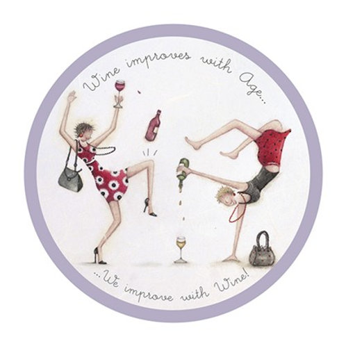 Wine improves with age coaster