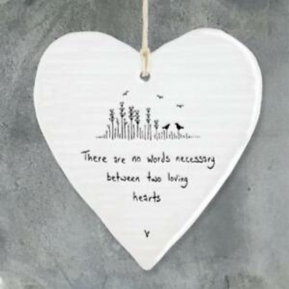 Two loving hearts... Porcelain Hanging Heart