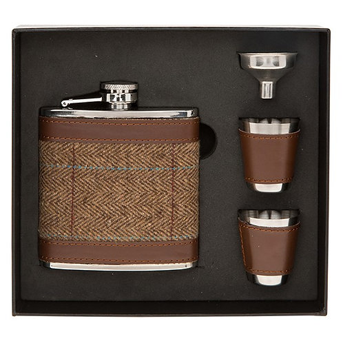 Brown Tweed Hip flask with 2 Cups Set
