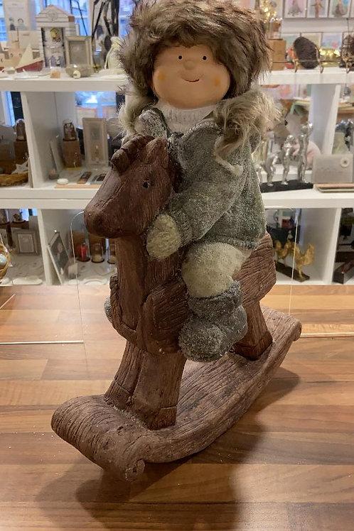 Christmas Rocking Horse Figurine