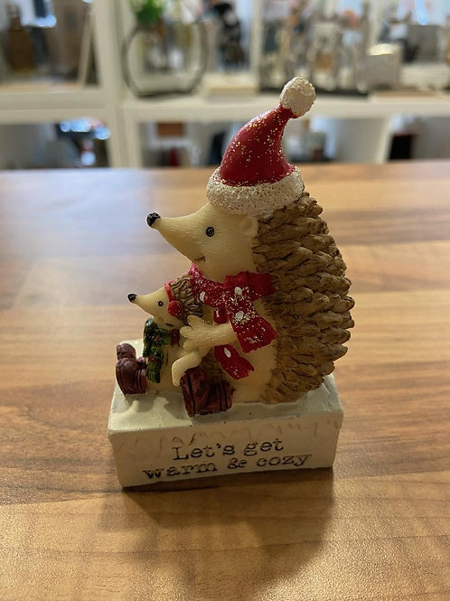 Let's get cozy and warm Hedgehog Figurine