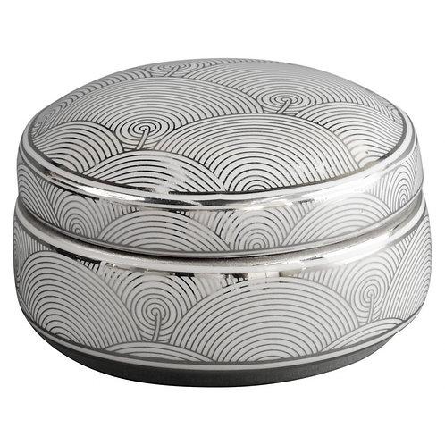 Libra Silver and White Fan Design Trinket Box