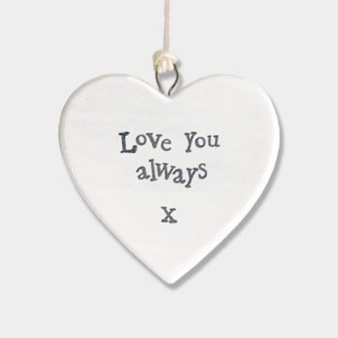 East of India Small Hanging Heart - Love always