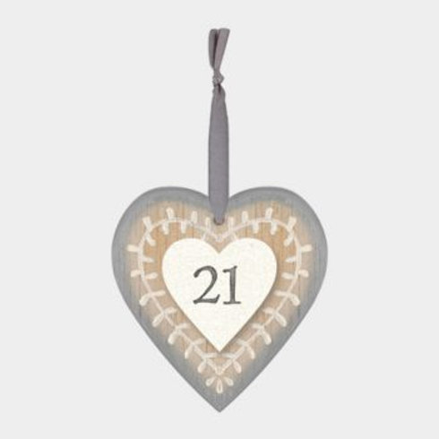 21 Wooden Heart Hanger