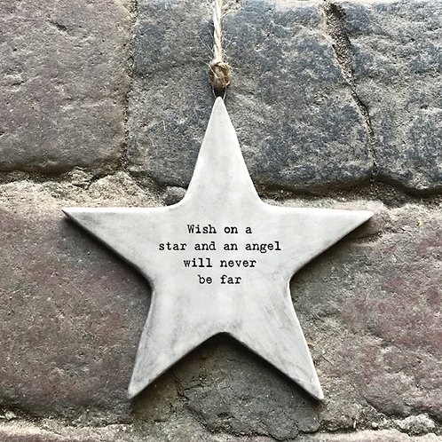 East of India Rustic Hanging Star - Wish on a star