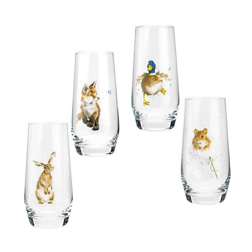 Royal Worcester Wrendale Designs Assorted Country Animals Hi-Ball Glasses Set of