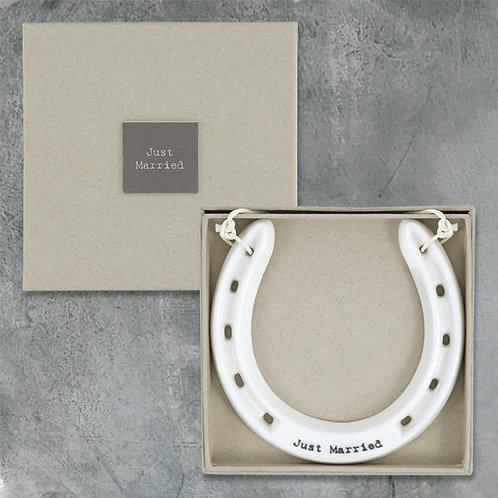 East of India Porcelain Horseshoe - Just Married