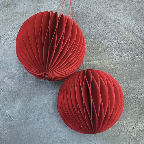 East of India Pack of 2 Baubles - Red