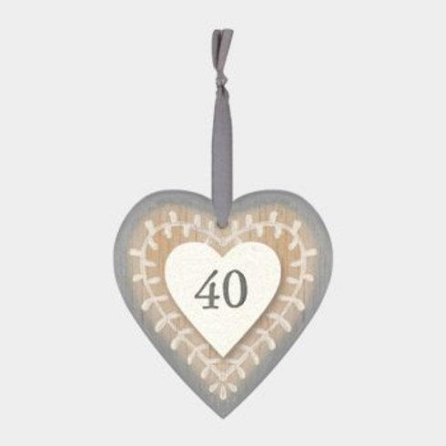 40 Wooden Heart Hanger