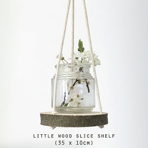 East of India Small Wood Slice Shelf - Natural