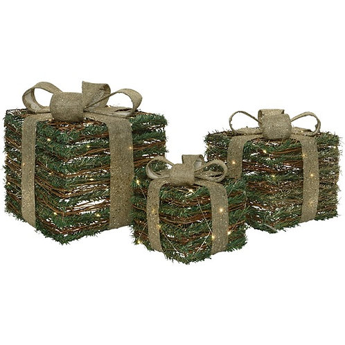 Set (3) Rattan LED Giftboxes
