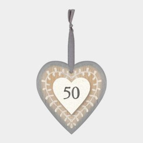 50 Wooden Heart Hanger