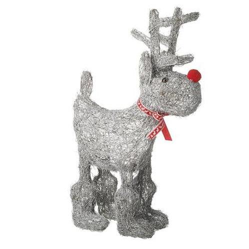 Grey Wicker Free Standing Reindeer