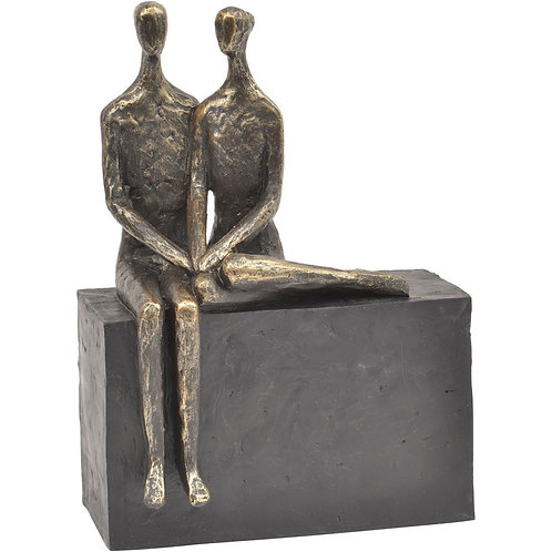 Libra Bronze Couple on Block Sculpture