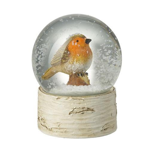 Glass Snow Globe with Robin