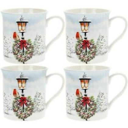 Christmas Robin Set of 4 Mugs
