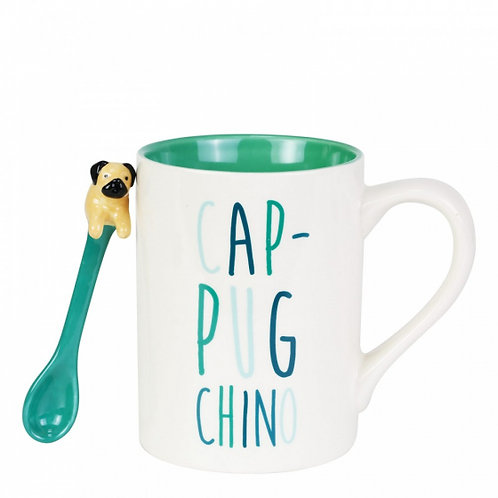 Cup - Pug - Chino Mug with Sculpted Spoon Set
