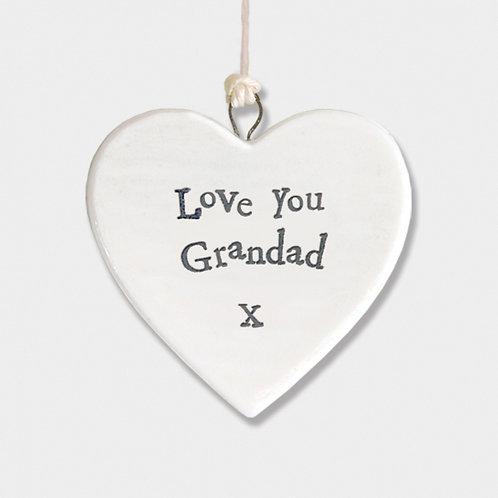 Love Grandad Small Hanging Heart