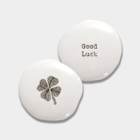 East of India Good Luck Porcelain Pebble