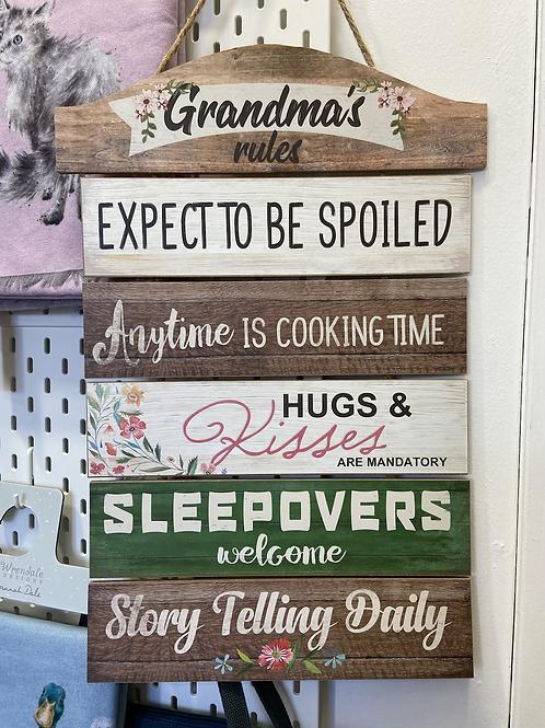 Grandma's Rules Hanging Sign