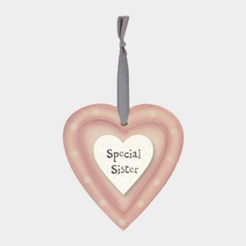 Special Sister Wooden Hanging Heart