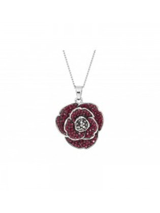 Espree London Rhodium Plated Crystal Poppy Necklace
