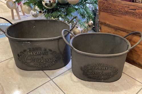 Set of 2 Christmas Kindling Holders