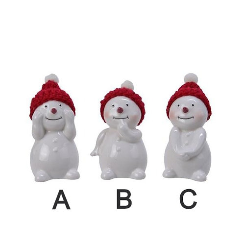 Porcelain Snowman with Knitted Hat - Various Designs