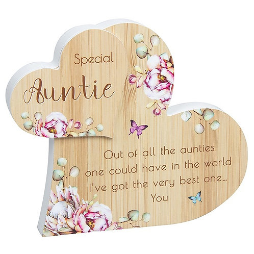 Vintage Floral Standing Heart - Auntie