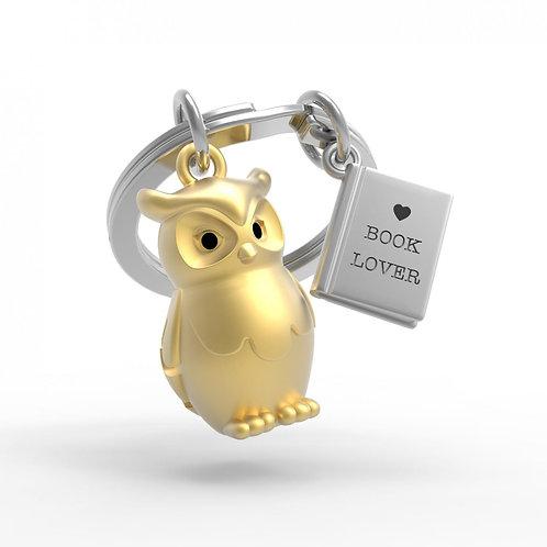 Oli Olsen Gold Owl with Book Lover Keyring