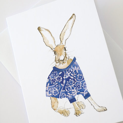 Hare in the Sweater - Calico Sweater Card