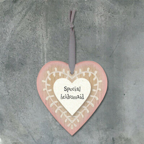 East of India Special Bridesmaid Wooden Heart Hanger