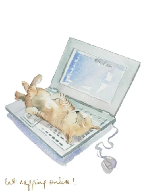 Cat napping online! Trumpers World Card