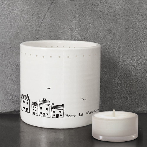 East of India Tealight Holder - Home is where the heart is