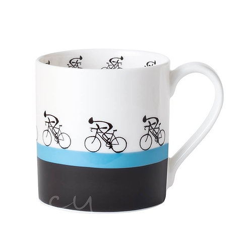 Lucy Pittaway Blue Stripe Cycling Mug