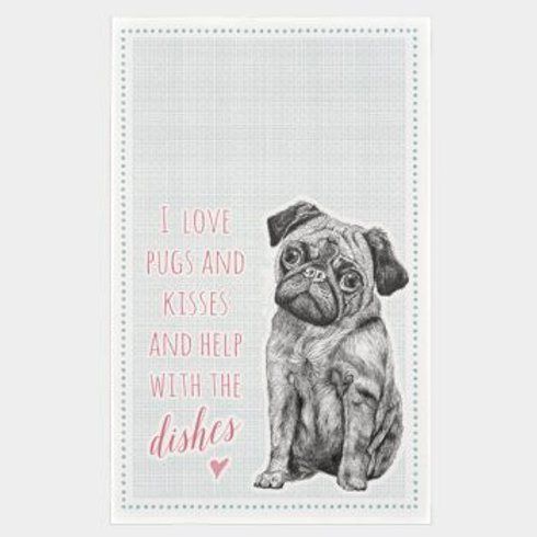 East of India Love Pugs and Dishes Tea Towel