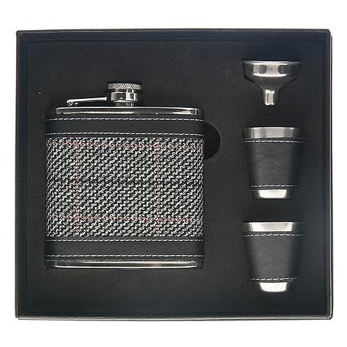 Grey Tweed Hip Flask with 2 Cups Set