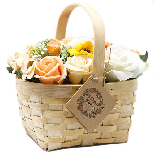 Large Bouquet in Wicker Basket - Orange