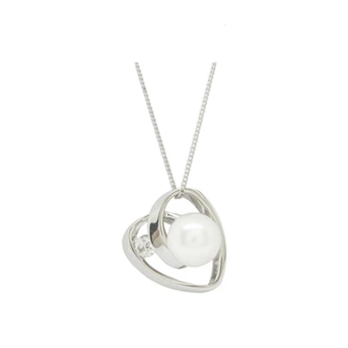 Espree London Sparkly Pearl Heart Pendant