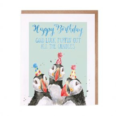 Happy Birthday Good luck puffin out all the candles Wrendale Card