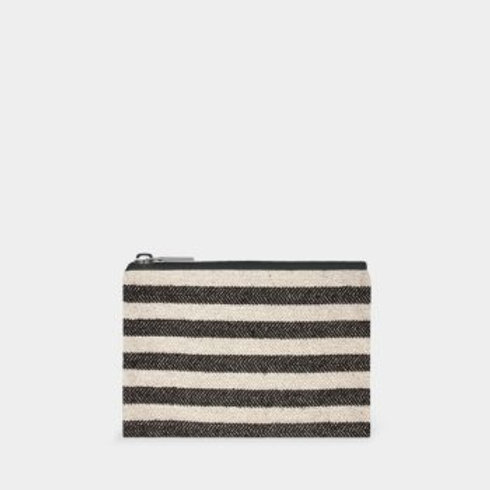 Wide Black Stripe Cotton Purse