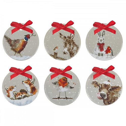 Wrendale Set of 6 Christmas Decorations