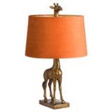Hills Interiors Antique Gold Giraffe Lamp with Burnt Orange Velvet Shade