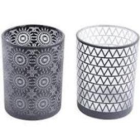 Libra Black and White Set of 2 Votives
