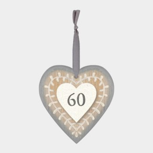 60 Wooden Heart Hanger