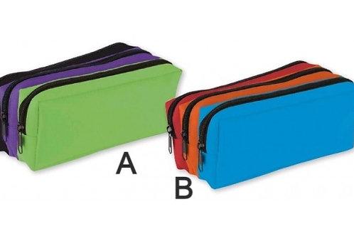 Tri Colour Three Compartment Pencil Case