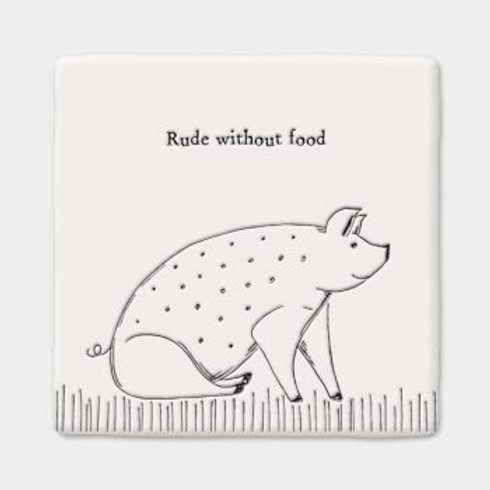 Rude without food Square Coaster