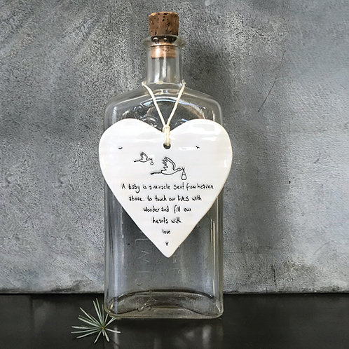 East of India Baby is a miracle Porcelain Hanging Heart