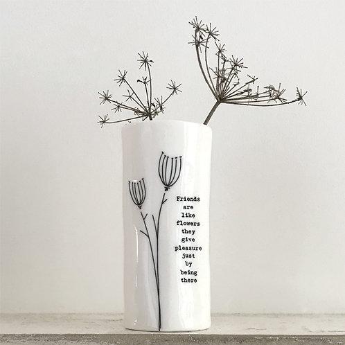 East of India Medium Porcelain Vase - Friends are like flowers